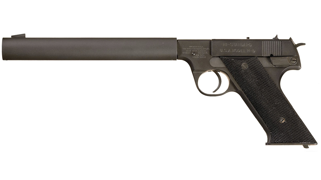 Based on High Standard's HD target pistol, the .22-caliber HDM was integrally suppressed.