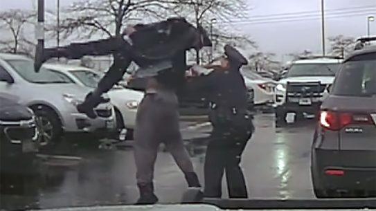 EKU linebacker Michael Harris body slammed a Grove City police officer in Ohio.