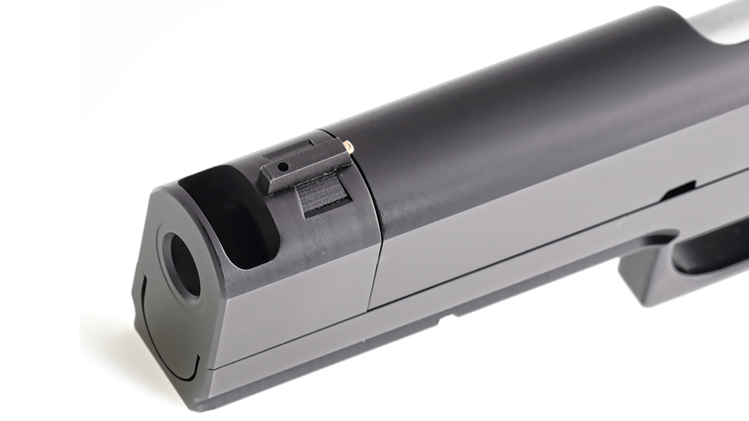 The Fire Hawk integrated compensator features a port for reduced muzzle rise.