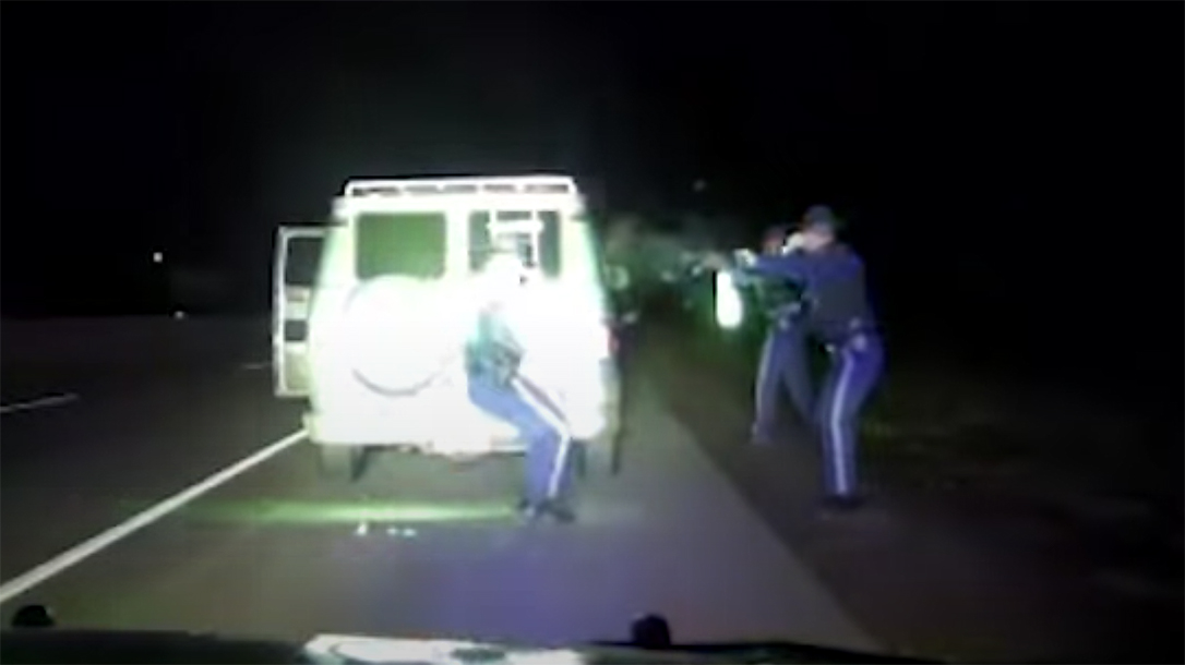 Oregon State Police engaged in a wild shootout with an armed suspect.