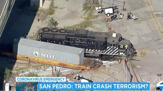 Eduardo Moreno attempted to ram a train into the USNS Mercy in Los Angeles.