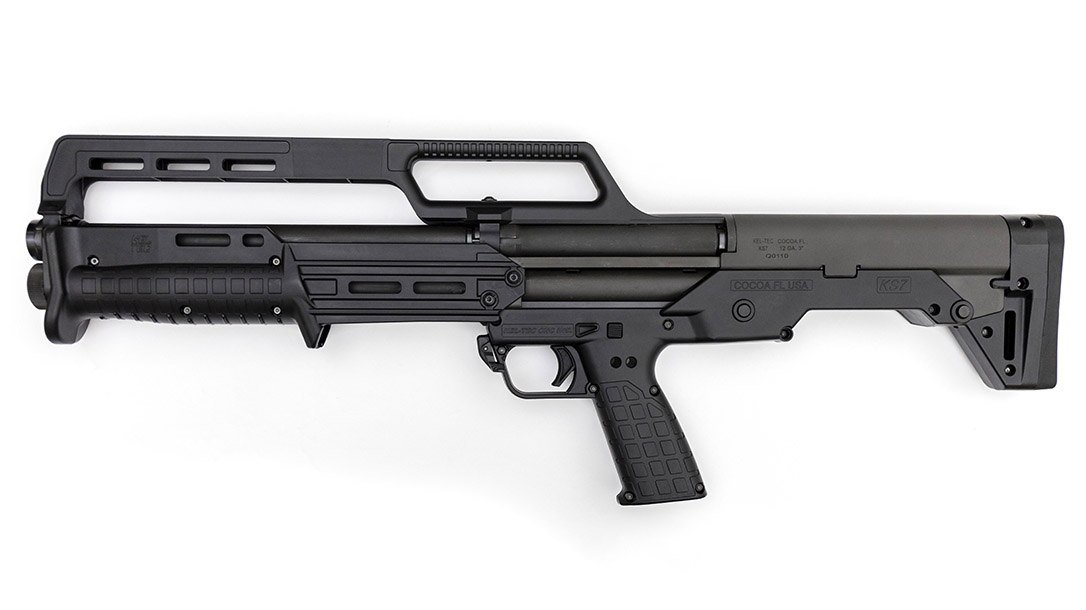 Despite its short overall length, the bullpup design delivers an 18.5-inch barrel.
