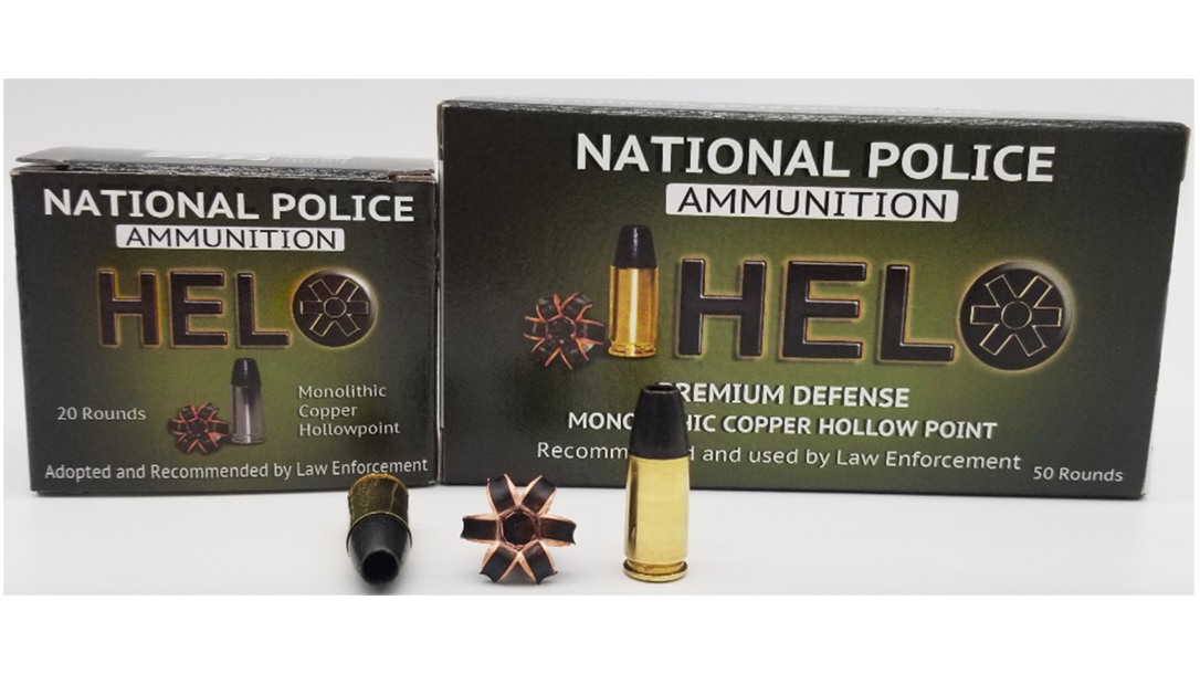 Derived from the company's HELO Duty line, National Police Ammunition releases 115-grain HELO Defense 9mm +P ammo for home defense and concealed carry.