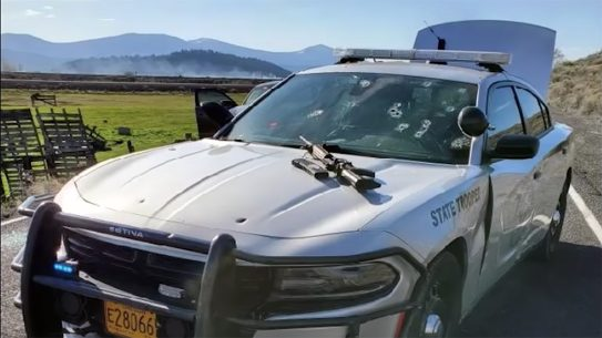 Oregon police shot and killed a man during a wild gun fight.
