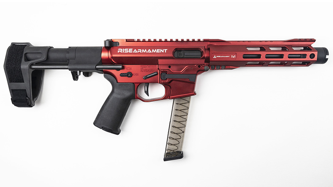 With a 7.5-inch barrel, though billed as a competition gun, the AR9 serves well for home defense.