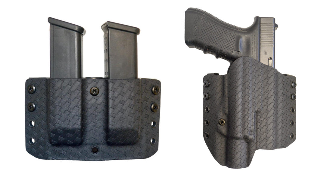 Featuring a black, basket weave Kydex design, the Comp-Tac Warrior with Light Holster and Twin Warrior Mag Pouch make a tough, duty-worthy OWB combo.
