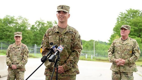 A Fort Leavenworth solider stopped an active shooter by running him over with his truck.