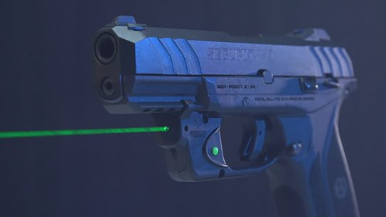The Viridian E-Series Green Laser sight is visible up to 2 miles in darkness.