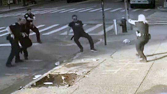 New York PD officers make several mistakes before shooting a man armed with a giant knife.