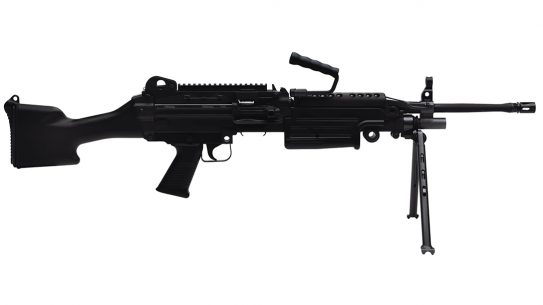 The FN M249 SAW is a lightweight, belt-fed machine gun chambered in 5.56.