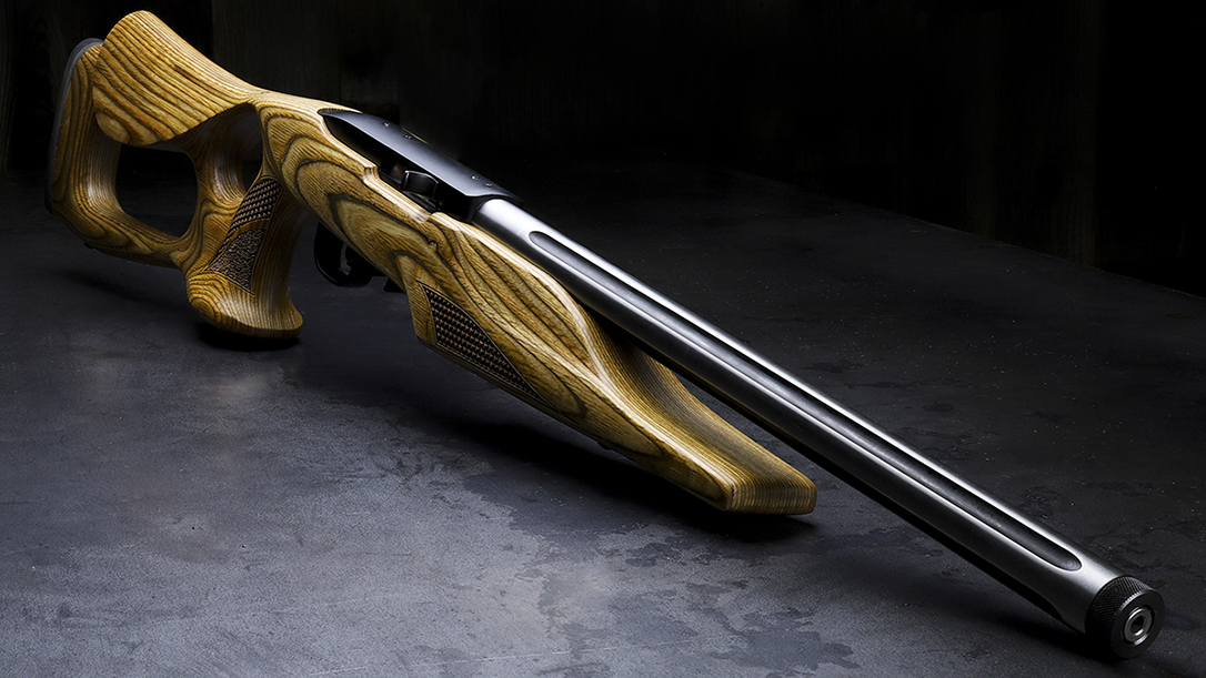 The Davidson's Ruger 10/22 Target features a thumbhole stock and fluted barrel.