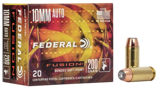 The. new Federal Fusion 10mm Auto ammo sends a 200-grain bullet at 1,200 fps.