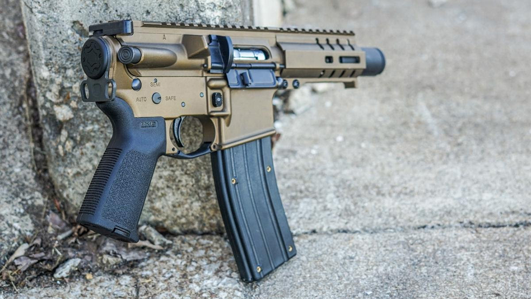 Replacing the need for a receiver extension and buffer assembly, the CMMG 22LR End Cap produces the shortest, most compact Banshee pistol to date.