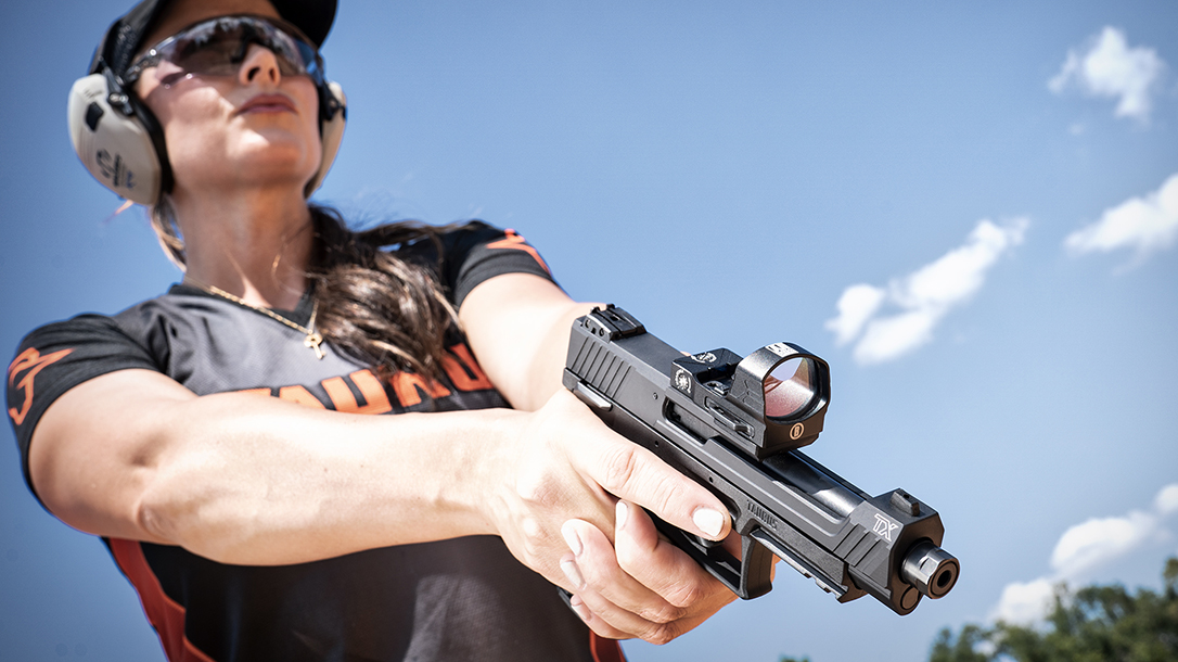 The TaurusTX 22 Competition accepts four different optic patterns.