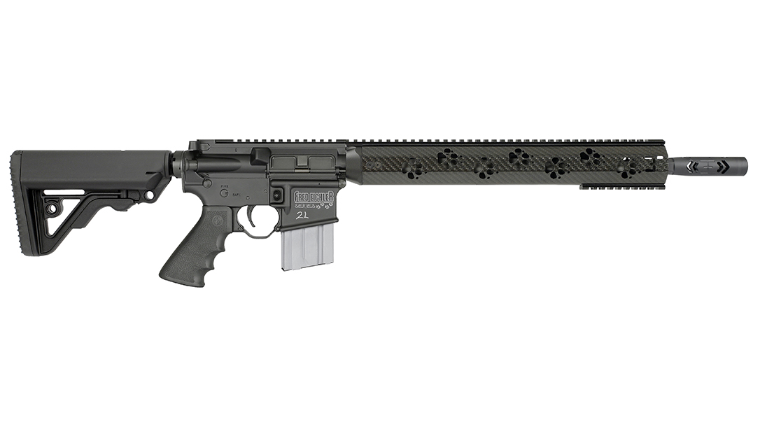 The Rock River Preadator2L features unique paw print handguards, marking its predator rifle status.