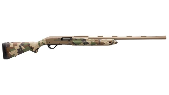 The Cerakote and Woodland finish give the Winchester Super X4 a vintage look.
