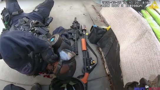 Jorge Cerda shooting, An LAPD SWAT office took a round to the face during a shootout.