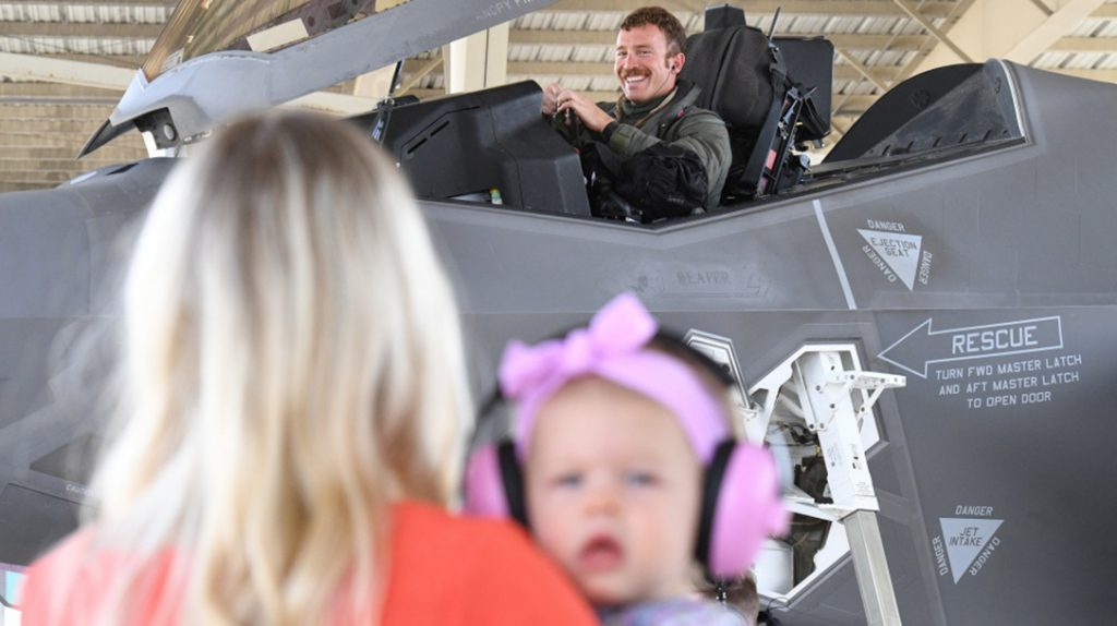 F-35A Lightning II pilots from the 388th and 419th Fighter Wings are met by family and friends as they return home on May 10, 2020, after a six-month deployment to the Middle East.