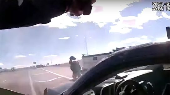 Officer Adrian De La Garza took a round before fatally shooting a cop killer in New Mexico.