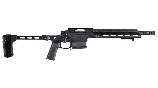 The Christensen Arms Modern Precision Pistol sports a short barrel and folding pistol brace from SB Tactical.