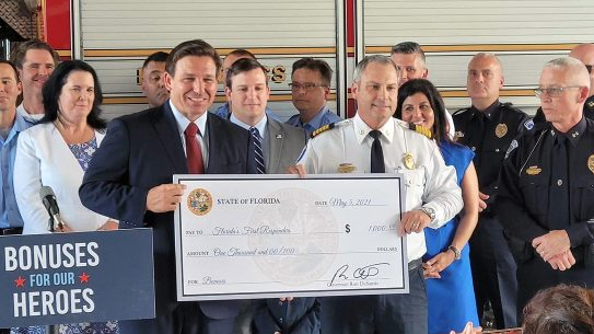 Gov. Ron DeSantis authorized a $1,000 bonus for Florida first responders.