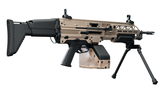 FN EVOLYS 5.56 weighs much less than a traditional SAW.