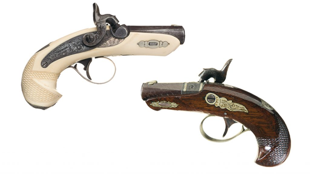Because Henry Deringer's pistols were designed along the lines of a dueling pistol and were gunsmith crafted, rather than factory mass produced, many specimens show little touches of individuality.