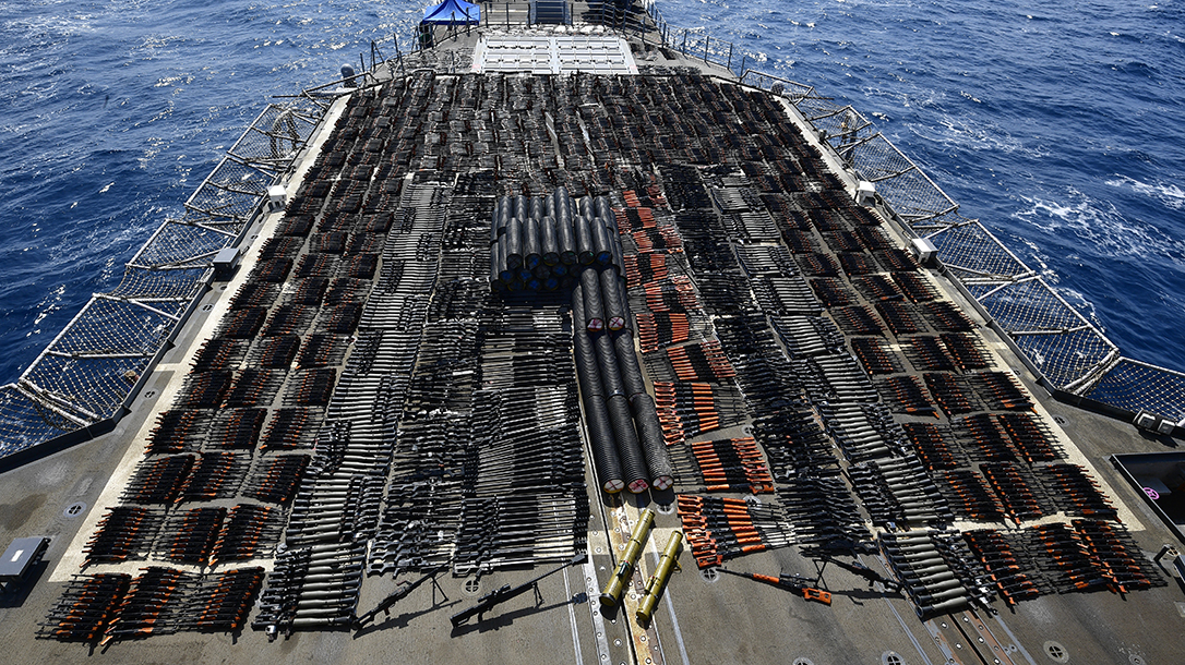 The USS Monterey seized a massive cache of illegal weapons.