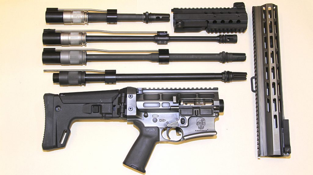 Like all DRD Tactical D-15 pattern rifles, the Aptus will accommodate a wide range of barrel lengths in .223, .300 Blackout and other calibers, as seen here.