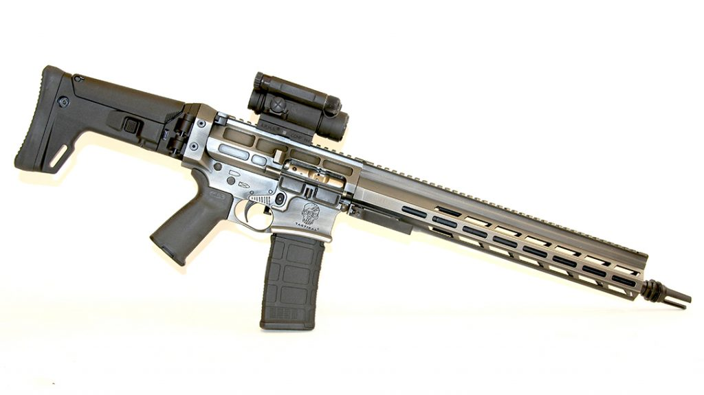 The ACR stock not only folds, but is also adjustable for length of pull with a 2-position cheek piece.