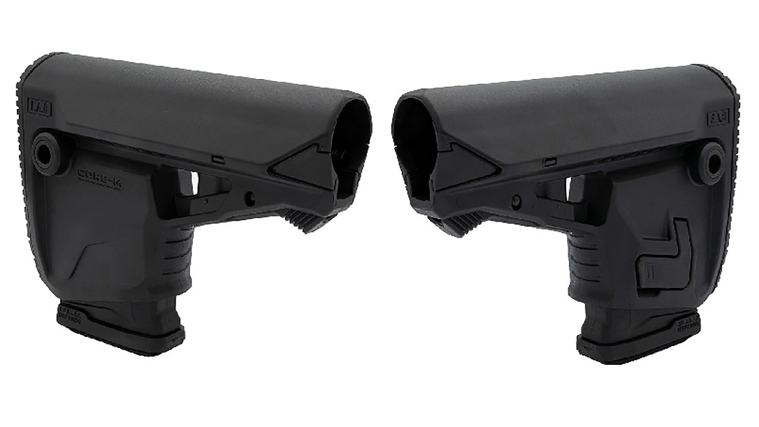 The FAB Defense Core-M rifle stock provides a slot for a 30-round magazine.