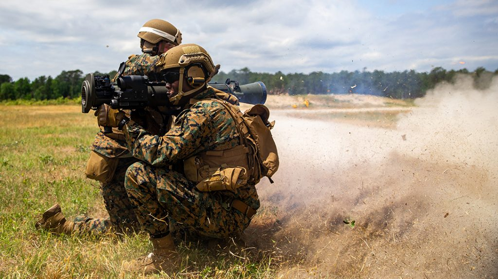 U.S. Marine Corps Sgt. Sebastien Auguste utilizes the M3E1 Multi-purpose Anti-armor Anti-personnel Weapon System (MAAWS) to engage targets during a live-fire training with 1st Battalion, 2d Marine Regiment (1/2), 2d Marine Division (2d MARDIV) on Camp Lejeune, N.C., May 6, 2021.