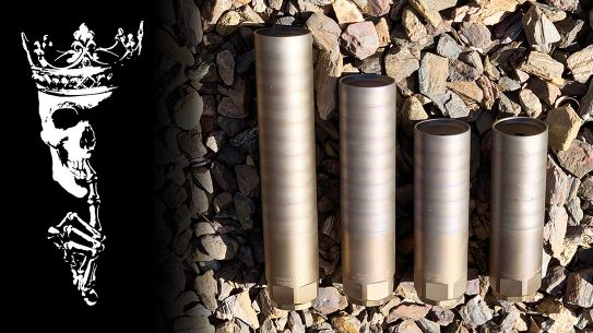 """Four rifle suppressors from Rex Silentium: (L to R) a 5.56mm MG7, a custom MGX with """"Beefy baffles"""" for sustained full-auto fire in 5.56mm and 7.62mm, and a MG10 in .308."""