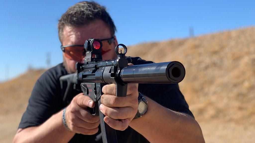 Rex Silentium suppressor on a rifle being shot.