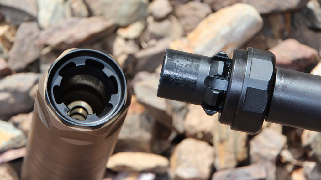 The RexQD, a six-lug quick-detach muzzle device that allows a suppressor to mate to the barrel without any movement.