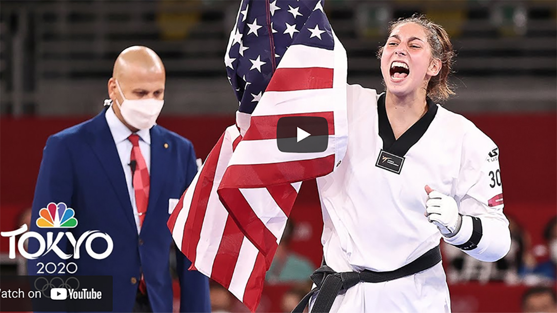 Anastasija Zolotic becomes the first woman to win Olympic gold in taekwondo.