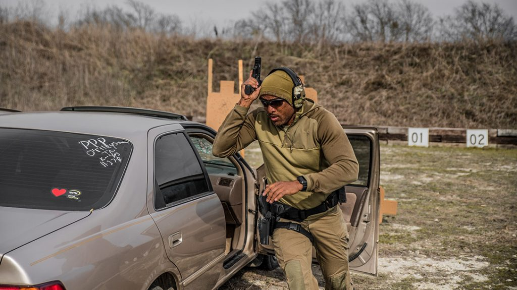 The vehicle cqb course goes through cover options.