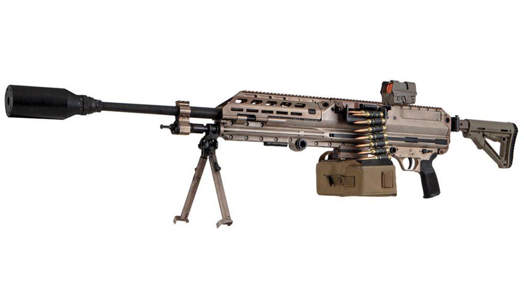 The SIG LMG 6.8 comprises an air-cooled machine gun that fires from an open bolt.