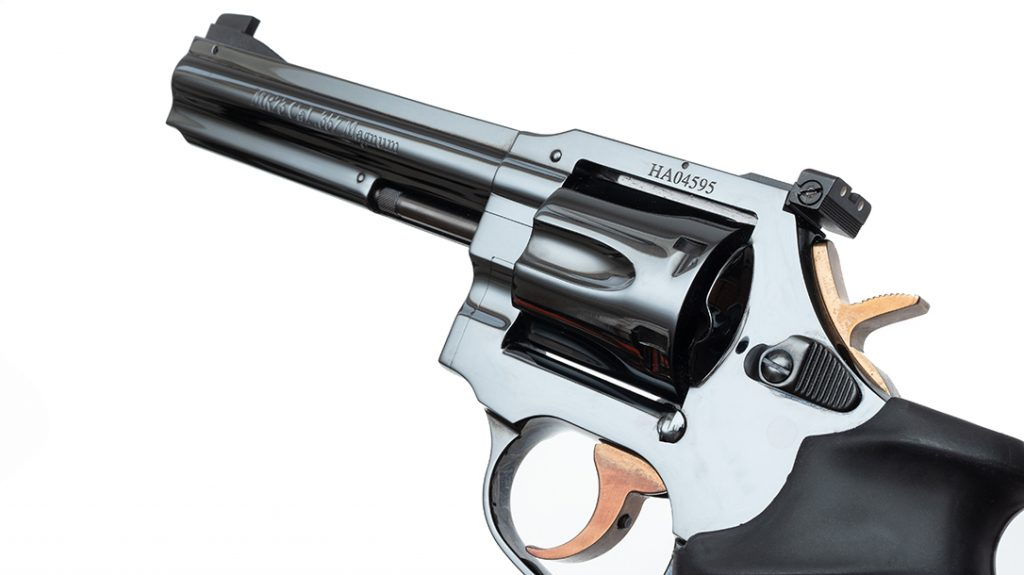 Catching the light just right, the Beretta Manurhin MR73 revolver is as beautiful a gun as you've ever seen.