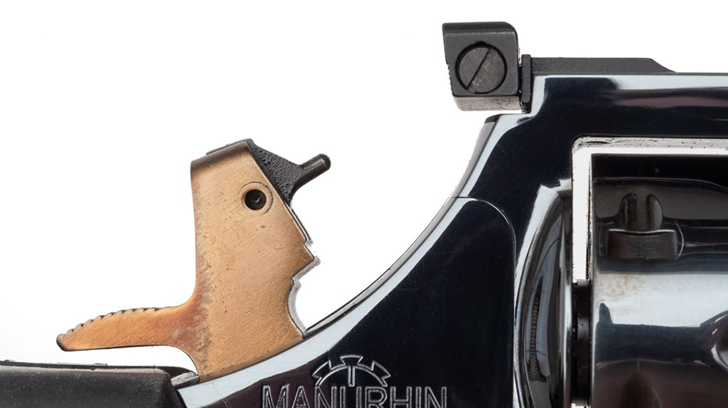 The hammer and trigger's gold tone is caused by the heat-treat process, offering an attractive contrast to the blued finish.