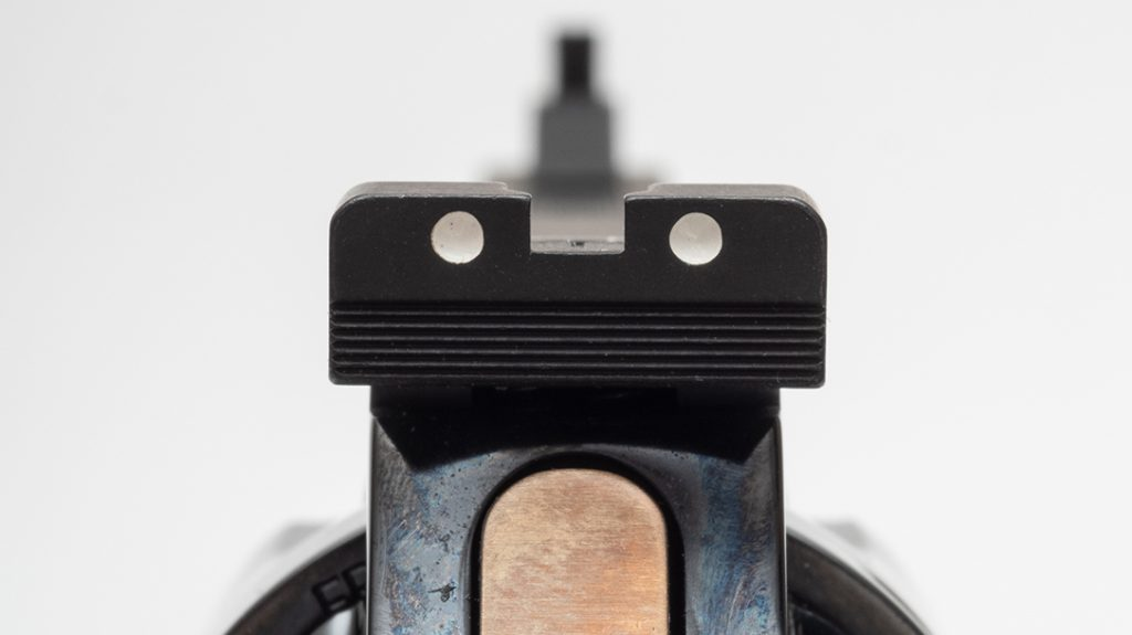 The MR73's rear sight is of the two-dot variety and is adjustable for windage and elevation.