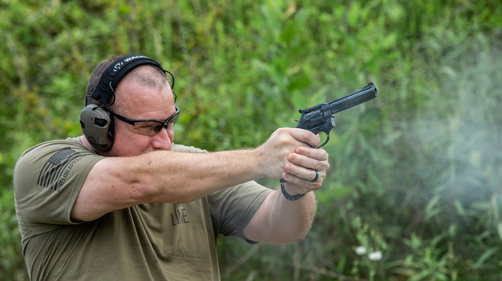 Despite the Beretta Manurhin MR73 revolver's light weight, recoil was still very manageable. This is even with hot and heavy loads from DoubleTap and Buffalo Bore.