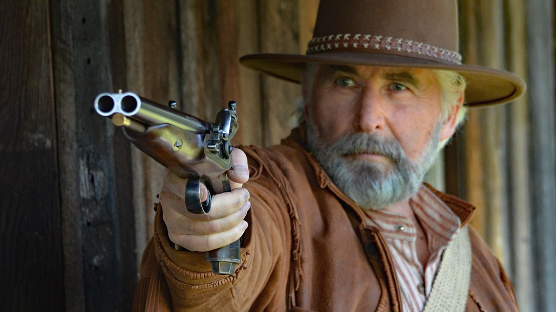 The Howdah 20Ga Double-Barrel Flintlock Pistol saw prominence in the American frontier of the 1860s and 1870s.