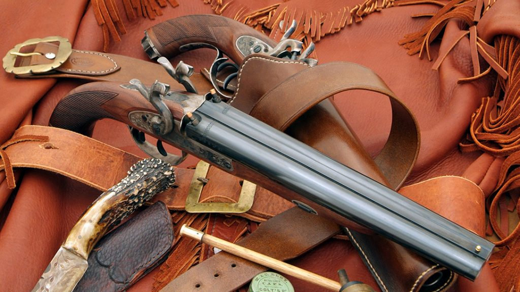 Retro-designing Howdah pistols, the first model built by Pedersoli was a double-hammer percussion pistol introduced in 2007. By date of introduction, this older model is historically a later 19th century design compared to the new Flintlock version.