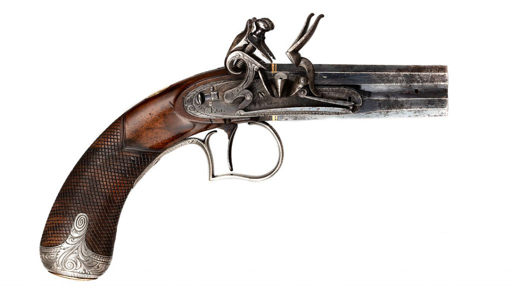 Built c.1815-1820 this Small Flintlock superposed pistol is diminutive in size and elegant in form. Small side-lock pistols like this one were one of Joseph Egg's specialties, prized for their precision craftsmanship and jewel-like quality, as well as their convenience as pocketable weapons. Its novel single-trigger mechanism, designed by Egg, allowed for the barrels to be fired in succession with two pulls of the trigger. (Metropolitan Museum of Art)