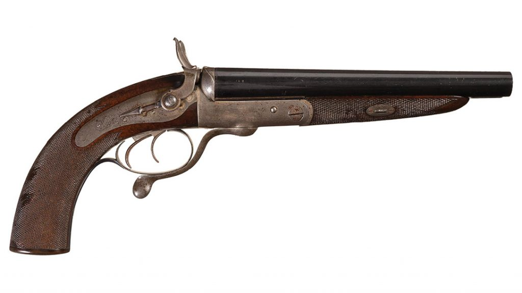 This impressive Howdah Pistol was manufactured in circa 1868 for a Captain Arbuthnot, according to the factory ledger. Harris Holland manufactured it before joining forces with his nephew and forming the firm of Holland & Holland in 1876. (Rock Island Auction Co.)