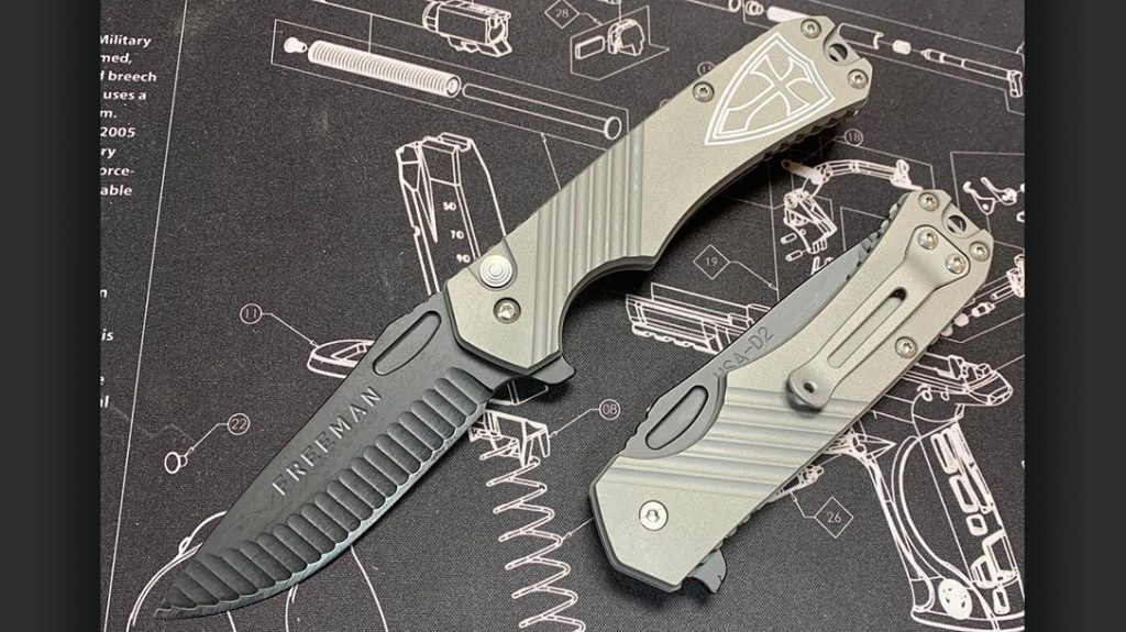 A 451 Button Lock Folder with all 6Al-4V titanium handles with engraving. (Below) A 5-inch Model 451 in FDE.