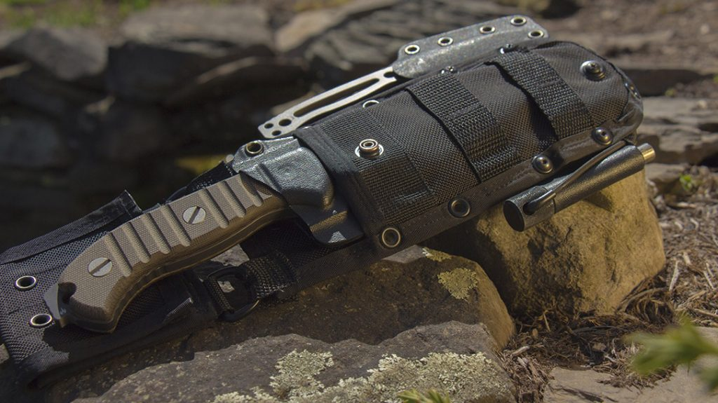The Ultimate Survival Tips' MSK-1 fixed blade hard use bushcraft knife.