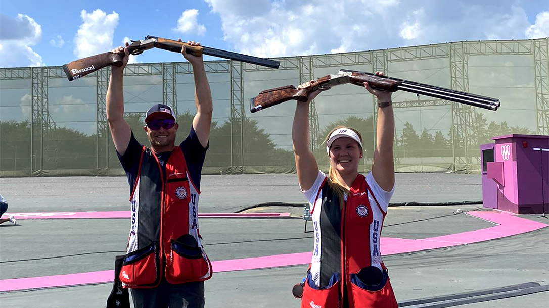 Brian Burrows and Maddy Bernau take bronze in mixed team trap shooting event