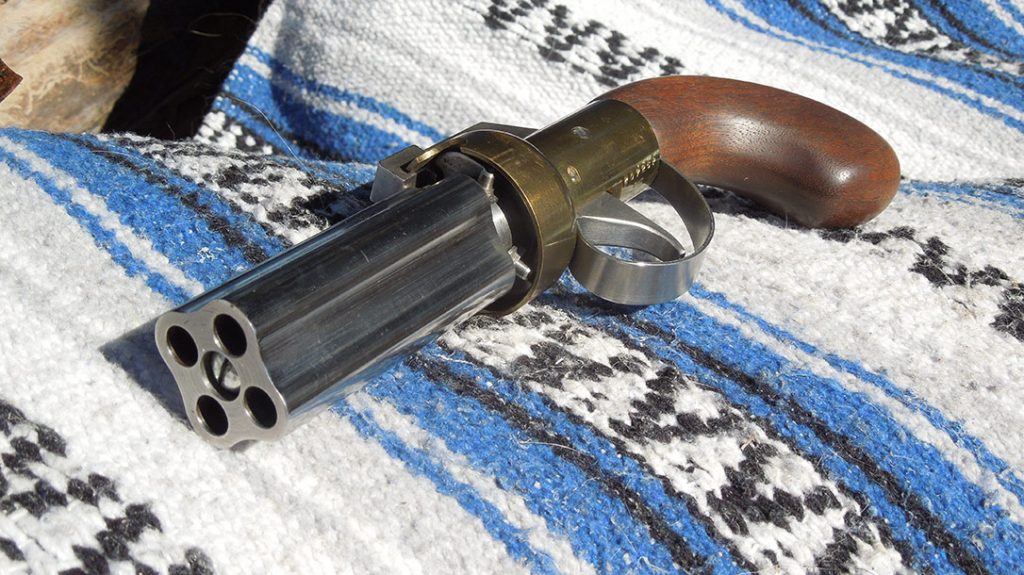 The business end of a pepperbox pistol.
